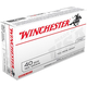 Winchester USA 40 S&W 165gr FMJFN Ammunition, 50 Round Box - USA40SW