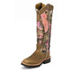 Justin Ladies Sq Toe 17in Pink Snake Boots 10W