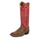 Justin Mens Bent Rail Sq Toe 15in Red Boots 13D