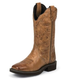Justin Ladies Gypsy Sq Toe 12in Caramel Boots 11