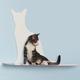 Cat Silhouette Cat Shelves Perch Blue