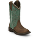 Justin Ladies Gypsy Square 12in Turq Cow Boot