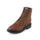 Justin Mens Dbl Cmfrt Lacer 6in Bark Work Boots 9E