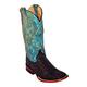 Ferrini Ladies Print Caiman Tail Sq Teal Boots