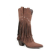 Roper Ladies Snip Toe 12in Fringe Brown Boots 11