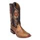 Ferrini Ladies Print Boa Sq Toe Mocha Boots 10