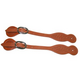 Western Basket Tooled Straight Spur Straps