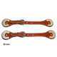 Western Rawhide Tooled Straight Spur Straps Brown