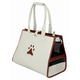 Pet Life Posh Paw Pet Carrier White/BRNPaw Prnt