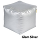 Jax and Bones Glam Siver Vinyl PVC Pouf Ottoman