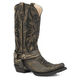 Roper Mens Carson Snip Sanded Black Boots