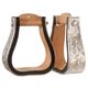 Tough-1 Silver Show Bell Stirrups Dark Oil