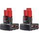 Milwaukee 48-11-2412 M12 XC 12V 3 Ah High Capacity Lithium-Ion Battery Pack (2-Pack)