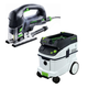 Festool P36561608 Carvex D-Handle Jigsaw with CT 36 E 9.5 Gallon HEPA Mobile Dust Extractor