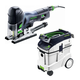 Festool P48561593 Carvex Barrel Grip Jigsaw with CT 48 E 12.7 Gallon HEPA Dust Extractor