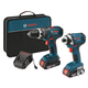 Bosch CLPK244-181 18V Cordless Lithium-Ion 1/2 in. Hammer Drill and Impact Driver Combo Kit