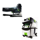 Festool PI561593 Carvex Barrel Grip Jigsaw with CT MIDI HEPA 3.3 Gallon Mobile Dust Extractor