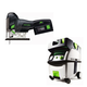 Festool PI561668 Carvex 18V Cordless Lithium-Ion Barrel Grip Jigsaw with CT MIDI HEPA 3.3 Gallon Mobile Dust Extractor