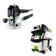 Festool PI574342 Plunge Router with CT MIDI HEPA 3.3 Gallon Mobile Dust Extractor