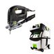Festool PI561455 Trion D-Handle Jigsaw with CT MIDI HEPA 3.3 Gallon Mobile Dust Extractor