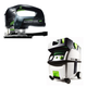 Festool PI561608 Carvex EBQ D-Handle Jigsaw with CT MIDI HEPA 3.3 Gallon Mobile Dust Extractor