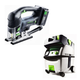 Festool PI561677 Carvex 18V Cordless Lithium-Ion D-Handle Jigsaw with CT MIDI HEPA 3.3 Gallon Mobile Dust Extractor