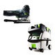 Festool PN561593 Carvex Barrel Grip Jigsaw with CT MINI HEPA 2.6 Gallon Mobile Dust Extractor