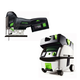 Festool PN561668 Carvex 18V Cordless Lithium-Ion Barrel Grip Jigsaw with CT MINI HEPA 2.6 Gallon Mobile Dust Extractor