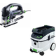 Festool PAC561608 Carvex D-Handle Jigsaw with CT 36 AC 9.5 Gallon Mobile Dust Extractor