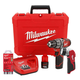 Milwaukee 2411-22P M12 12V Cordless Lithium-Ion 3/8 in. Hammer Drill Driver Kit With Work Light And Bit Set