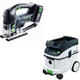 Festool PAC561677 Carvex 18V Cordless Lithium-Ion D-Handle Jigsaw with CT 36 AC 9.5 Gallon Mobile Dust Extractor