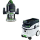 Festool PAC574354 Router with CT 36 AC 9.5 Gallon Mobile Dust Extractor