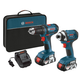 Factory Reconditioned Bosch CLPK26-181-RT Compact Tough 18V Cordless Lithium-Ion Drill Driver & Impact Driver Combo Kit