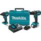 Makita XT248R 18V 2.0 Ah Cordless Lithium-Ion Brushless Hammer Driver Drill and Impact Driver Combo Kit