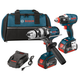 Bosch CLPK224-181 18V Cordless Lithium-Ion 1/2 in. Hammer Drill and Socket Ready Impact Driver