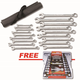 GearWrench 81920D 18-Piece Metric Long Pattern Combination Wrench Set with FREE 12-Piece Combination Ratcheting Wrench Set