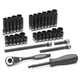 Grey Pneumatic 89253CRD 53-Piece 1/4 in. Drive 12-Point SAE/Metric Standard and Deep Duo Impact Socket Set