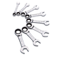 Sunex Tools 9936 8-Piece SAE Stubby V-Groove Combination Ratcheting Wrench Set