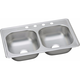 Elkay DSE233194 20-Gauge Stainless Steel 33 x 19 x 8 in. Double Bowl Top Mount Kitchen Sink