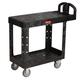 Rubbermaid 452500BK 25-1/4 in. x 44 in. x 38-1/8 in. Flat Shelf Utility Cart (Black)