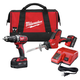 Factory Reconditioned Milwaukee 2695-82 M18 18V Cordless Lithium-Ion 1/2 in. Hammer Drill and Hackzall Recip Saw Combo Kit