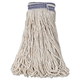 Rubbermaid E139 12-Piece 32 oz. Universal Headband Cotton Mop Head with 1 in. Blue Band (White)