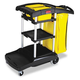 Rubbermaid 9T7200BK 21-3/4 in. x 49-3/4 in. x 38-3/8 in. High Capacity Cleaning Cart (Black)