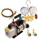 FJC 9281 Vacuum Pump & R134a Manifold Gauge Set Assortment