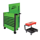 ATD 70400S 7-Drawer Flip-Top Tool Cart Green with FREE Mechanic's Padded Creeper Seat