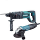 Makita HR2475X2 1 in. D-Handle 3-Mode SDS-Plus Rotary Hammer with 4-1/2 in. Angle Grinder