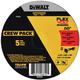 Dewalt DWAFV845045B5 T1 FLEXVOLT Cutting Wheel 5pk 4-1/2 in. x .045 in. x 7/8 in. 5-Pack