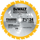 Dewalt DW3178 7-1/4 in. 24 Tooth Carbide Tipped Portable Circular Saw Blade