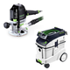 Festool P48574342 Plunge Router with CT 48 E 12.7 Gallon HEPA Dust Extractor