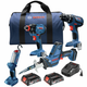 Bosch GXL18V-496B22 18V 4-Tool Combo Kit with 1/2 In. Drill/Driver, 1/4 In. and 1/2 In. Impact Driver, Reciprocating Saw and LED Worklight